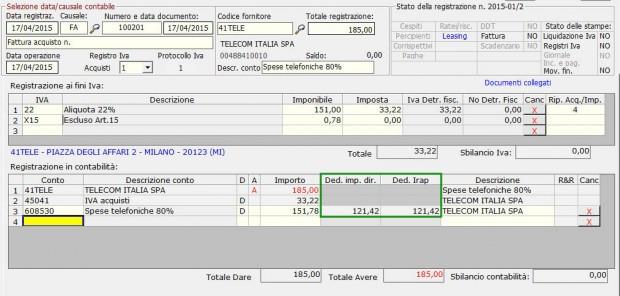 7 Esempio registrazione costo parzialmente deducibile