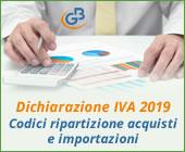 Dichiarazione IVA 2019: inserimento Codici di ripartizione acquisti e importazioni