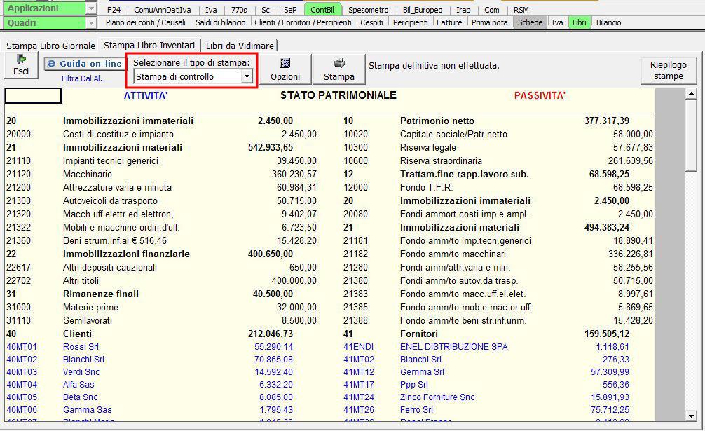 Stampa dei libri obbligatori - Software Contabilità
