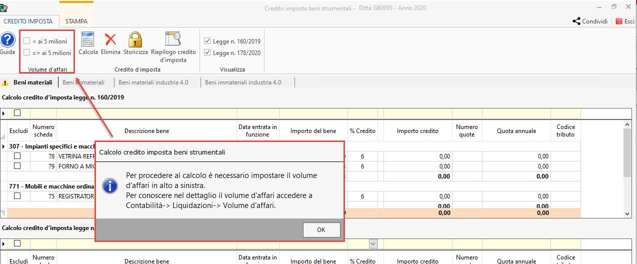 Fruibile in unica soluzione: Credito d'imposta beni materiali DL 178/2020: impostare volume affari