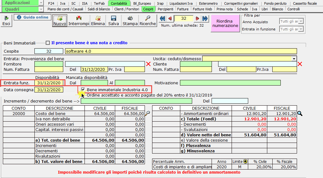 Disponibile gestione: Credito d'imposta beni strumentali 2020: beni immateriali industria 4.0