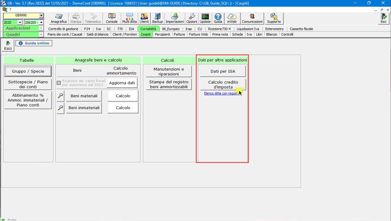 Disponibile gestione: Credito d'imposta beni strumentali 2020: dati per altre applicazioni