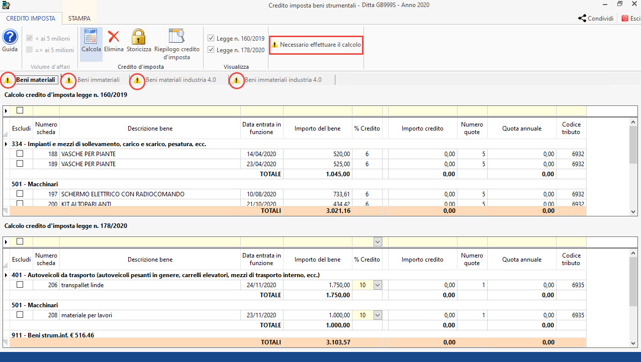 Disponibile gestione: Credito d'imposta beni strumentali 2020: quattro tab
