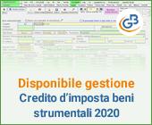 Disponibile gestione: Credito d'imposta beni strumentali 2020
