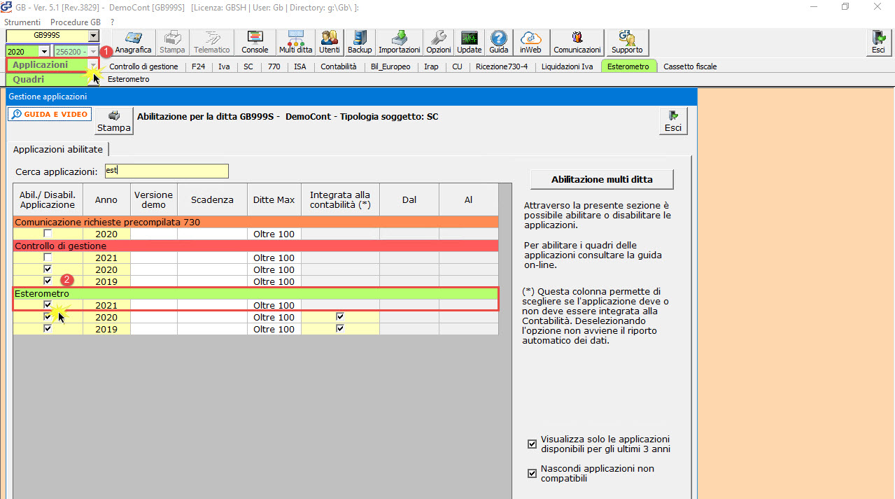 Esterometro 2021: applicazione disponibile : abilitazione Esterometro