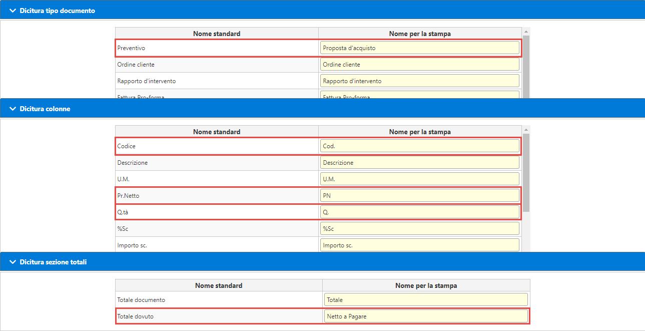 Personalizzazione dei modelli di stampa: Fatturazione inWeb: personalizzazione dicitura