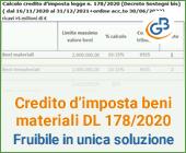 Fruibile in unica soluzione il credito d'imposta beni materiali DL 178/2020