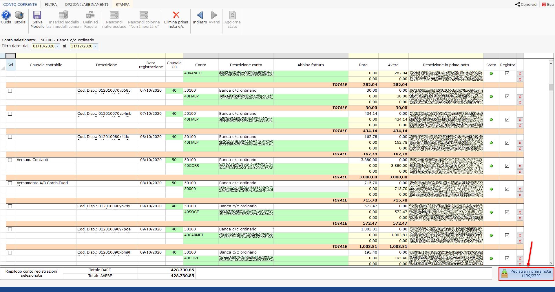 GB Bank Studio: importazione Estratto Conto: predisposizione prime note