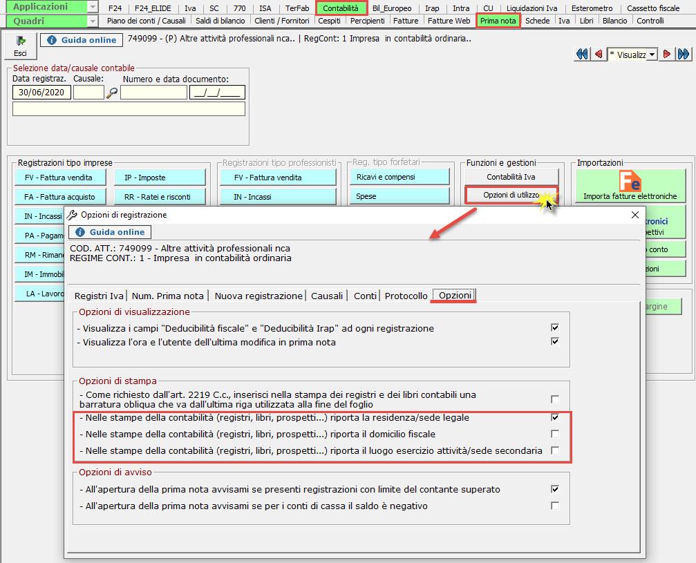 Scelta dell'indirizzo nelle opzioni di stampa: dati che si posssono inserire nelle opzioni di utilizzo in prima nota