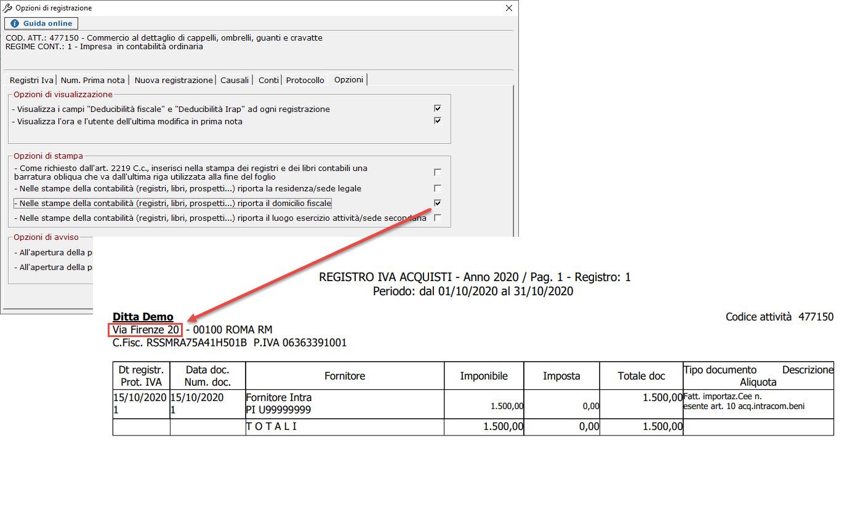Scelta dell'indirizzo nelle opzioni di stampa: in alternativa all'indirizzo viene ruportato il domicilio fiscale