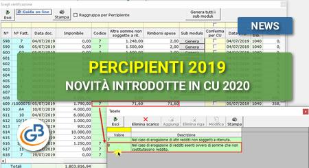 Percipienti 2019: novità introdotte in CU 2020