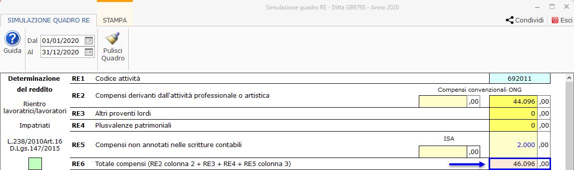 Riepilogo Certificazioni e simulazione del Quadro RE : campi arancioni/rossi contengono una formula