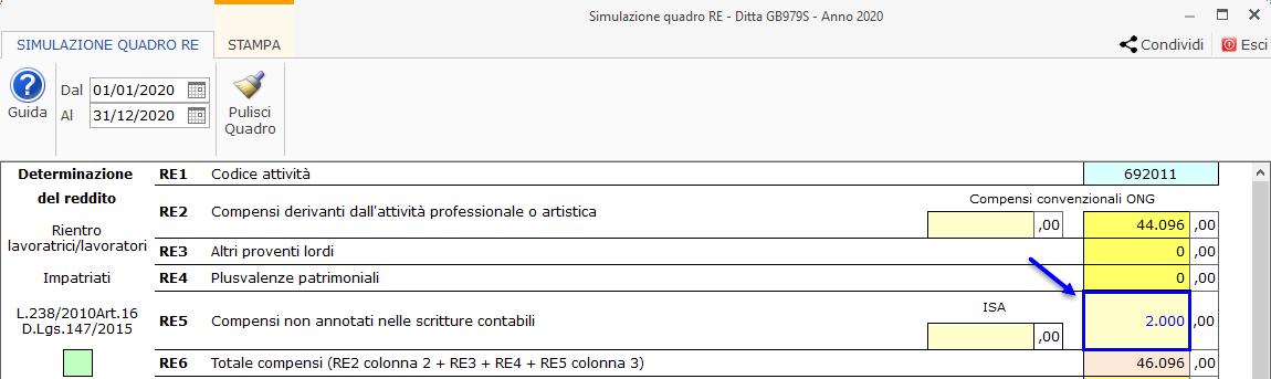 Riepilogo Certificazioni e simulazione del Quadro RE : nei campi gialli l'utente deve indicare il dato manualmente