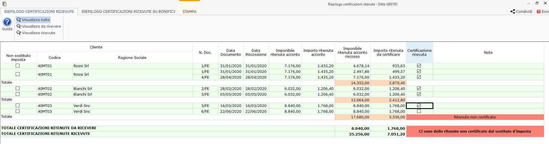Riepilogo Certificazioni e simulazione del Quadro RE : sezione dove si trovano i dati dei compensi per produrre la certificazione da consegnare al professionista