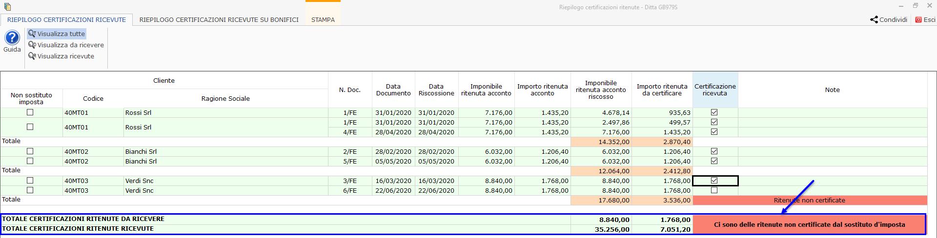 Riepilogo Certificazioni e simulazione del Quadro RE : segnalazione di ritenute non certificate per uno più clienti nella parte inferiore del prospetto