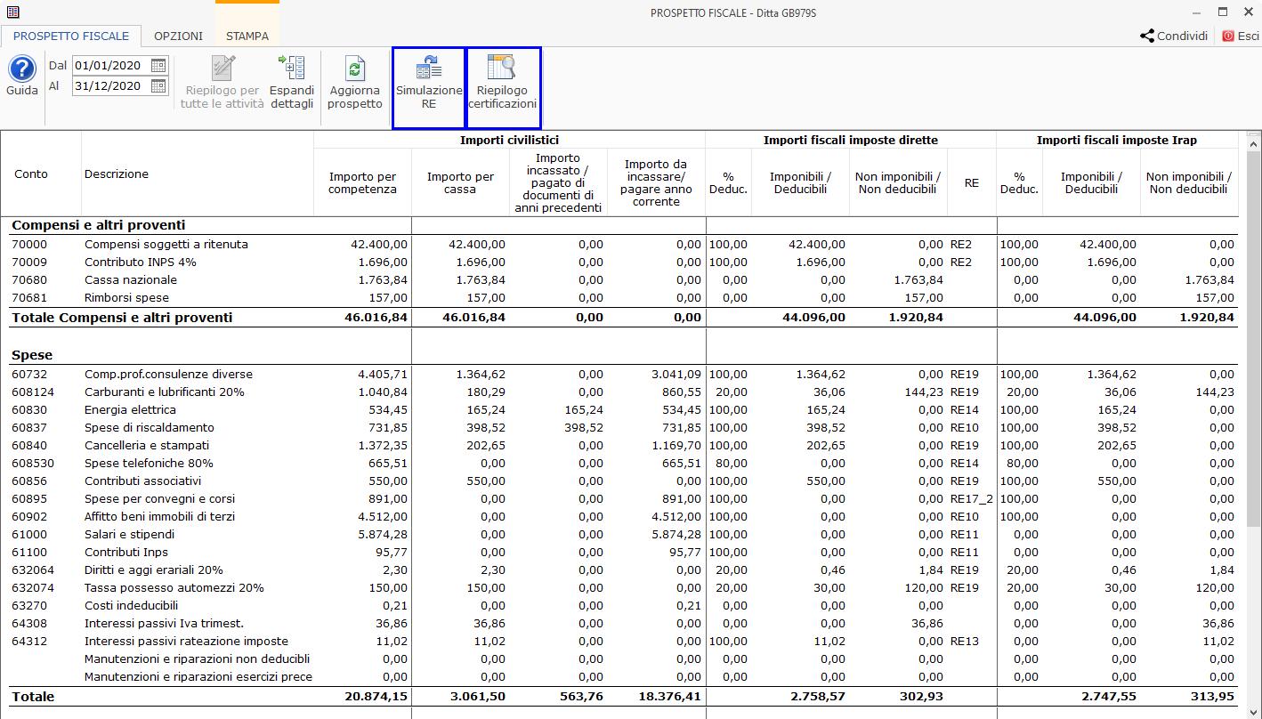 Riepilogo Certificazioni e simulazione del Quadro RE : a cosa possiamo accedere all'interno del prospetto fiscale